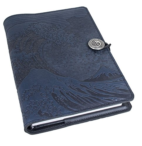 Genuine Leather Refillable Journal Cover with a Hardbound Blank Insert, 6x9 Inches, Hokusai Wave, Navy With Pewter Button, Made in the USA by Oberon Design