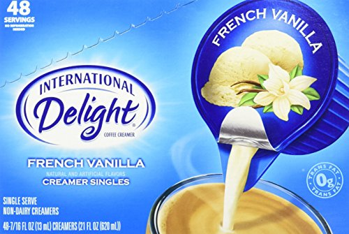 French Vanilla Non-Dairy Creamer Cups, International Delight, 48 - 7/16 fl oz (13 ml) Single Serve Coffee Creamer Cups