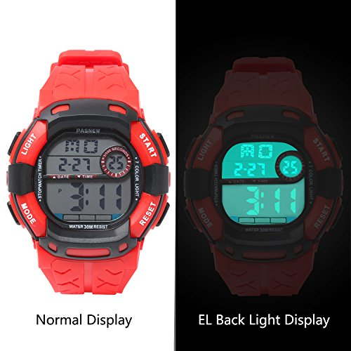 Kids Boys Girls Digital Multi Function Sports Water Resistant 7-Colors Backlight Wrist Watches (RED) by HOWOD (Image #4)