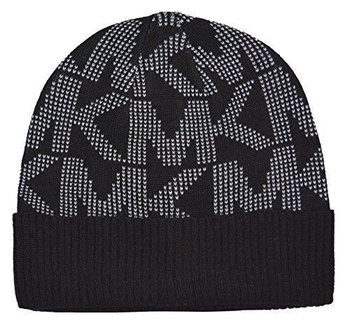 Michael Kors Signature Logo Knit Beanie Hat Black White