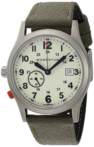 Momentum Men's Quartz Titanium and Canvas Dress Watch, Color:Green (Model: 1M-SP60L6G)