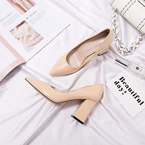 Xue Qiqi high-heel Schuhe Frauen mit fetten schwarzen Spitze und vielseitig mit einem frischen Schuh 37 8 CM