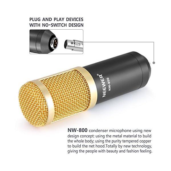 Neewer NW-800 Studio - Set microfono a condensatore professionale NW-800, con assorbimento degli urti, a sfera anti-vento, in schiuma, cavo di alimentazione per microfono 5 spesavip