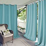 Elrene Home Fashions Connor Indoor/Outdoor Solid Grommet Panel Window Curtain 52'' x 108'' (1), Turquoise