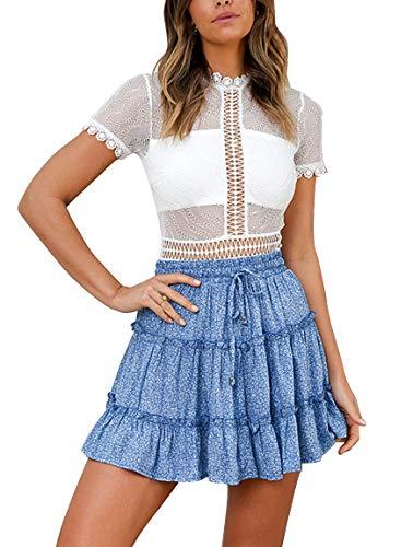 r Polka Dot Pleated High Waist A Line Cute Beach Mini Short Skirt Blue ()