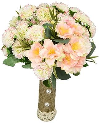 YAMUDABridal Bridesmaid Flower Girls Wedding Bouquet Flowers Hydrangeas Handmade Real-Touch Silk Artificial Flowers Rose Wedding Decoration