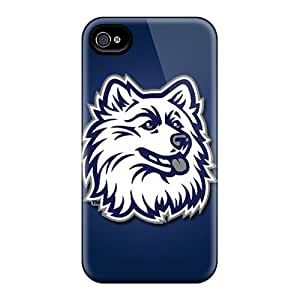 Shock Absorption Hard Phone Covers For Iphone 4/4s With Custom HD Uconn Huskies Pattern SherriFakhry