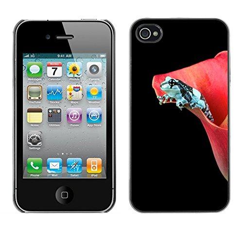 TopCaseStore / caoutchouc Hard Case Housse de protection la Peau - Flower Black Frog Dark Minimalist - Apple iPhone 4 / 4S