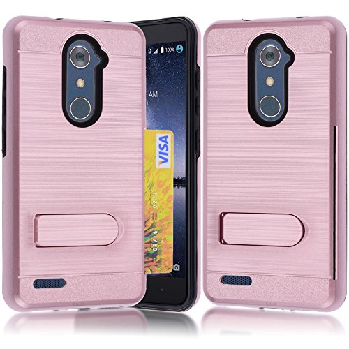 ZTE Zmax Pro Wallet Case, ZTE Grand X Max 2 Case ,Kmall Heavy Duty Full-Body Slim Dual Layer Protective Hard Hybrid Skin Cover with Credit Card Slot Holder and Kickstand Shell For ZTE Kirk Rose Gold (Zte Zmax Credit Card Phone Case)
