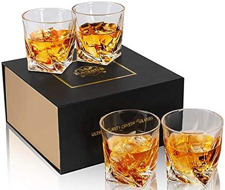 KANARS WG04 Juego de 4 Vasos de Whisky, Vaso de Whisky Robusto Cristalino 100% Sin Plomo para Escocés, Borbón y Más, 300ml, Caja de Regalo de Lujo