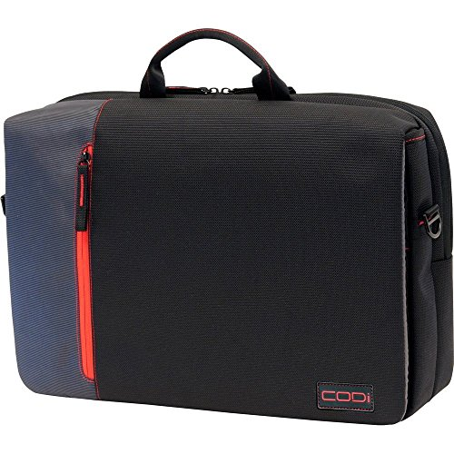 Black Red Gray Notebook Case - CODi Ultra Lite Hybrid Messenger for Laptops up to 15.6 Inches, Black with Red/Grey Accents (C2300)