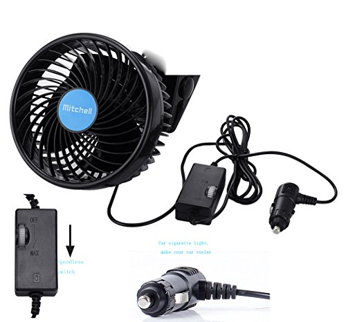Wua 12V 6 inch Car Cooling Fan Automobile Vehicle Adjustment Suction Cup Fan Powerful Quiet Ventilation Electric Fans with Suction Cup & Cigarette Lighter Plug for Car/ Vehicle by Wuao (Image #1)