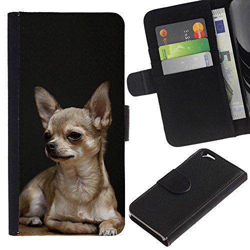 LASTONE PHONE CASE / Luxe Cuir Portefeuille Housse Fente pour Carte Coque Flip Étui de Protection pour Apple Iphone 6 4.7 / Chihuahua Dog Black Pet Golden Puppy