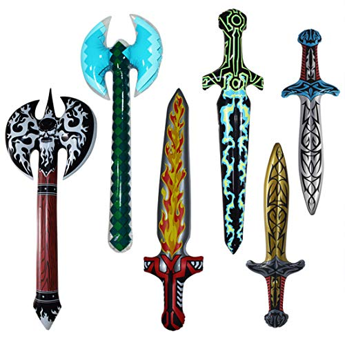 Inflatable Pretend Play Pirate Swords Axe for Boys Halloween Party Supplies Set of 6 -