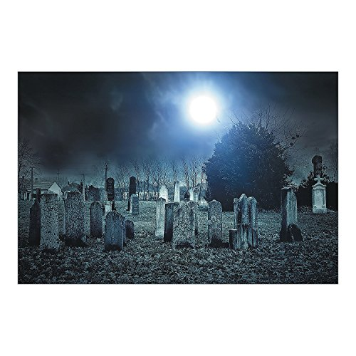 Fun Express - Haunted Cemetary Scene Backdrop Banner for Halloween - Party Decor - Wall Decor - Preprinted Backdrops - Halloween - 3 Pieces -