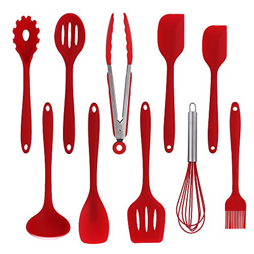 10pcs Piece Kitchen Utensils Set, Non Stick Heat Resistant Silicone Utensil Cooking Baking Set, Red