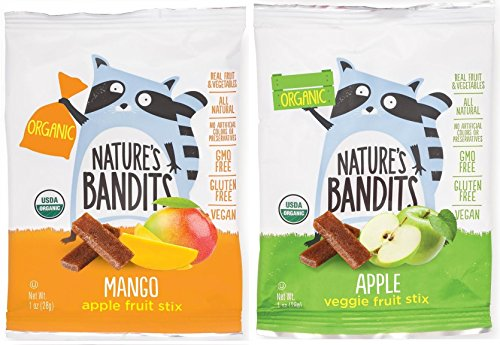 Nature's Bandits Organic Fruit & Veggie Stix - Variety (Mango & Apple), 1 Box of 6 (1.0 Ounce) Bags - Gluten Free, Vegan, Kosher
