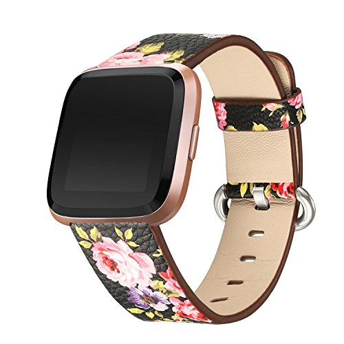 bayite Leather Bands Compatible Fitbit Versa, Slim Wristband Replacement Accessories Fitness Classic Straps Women, Black/Pink Flower