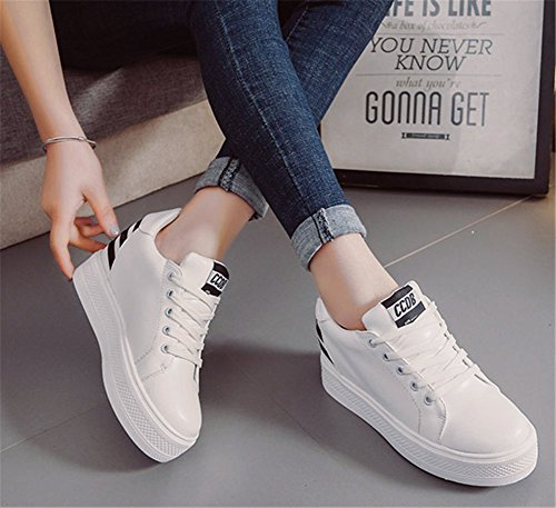Chaussures Tennis Cuir PU Baskets wealsex Femme de Noir Compensées 66FzZr