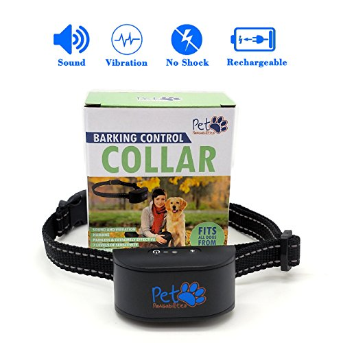NO SHOCK Rechargeable Water Resistant Bark Collar for 6-120lb dogs, Extremely Effective No Bark Collar with no pain or harm, 7 Different bark sensitivity levels, Bark Collar Small Dog to Large Dog.