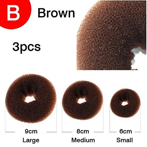 A.HBrown 3PCS/Set Magic Hair Styling Clip Accessory Maker Tool Pads Foam Sponge Hairpins Bun Donut Updo Style Donut L+M+S ()