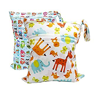 Numola 2Pcs Baby Wet and Dry Cloth Diaper Bags Organizing Pouches with 2 Zippered Pockets, Travel Laundry Bag for Cloth Diaper, Swimsuit, Bathing Suit, Breast Pump Parts (Small Owl+Giraffe)
