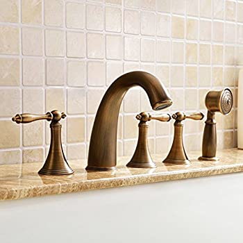 Jiayoujia Antique Brass Roman Tub Filler Faucet With Metal