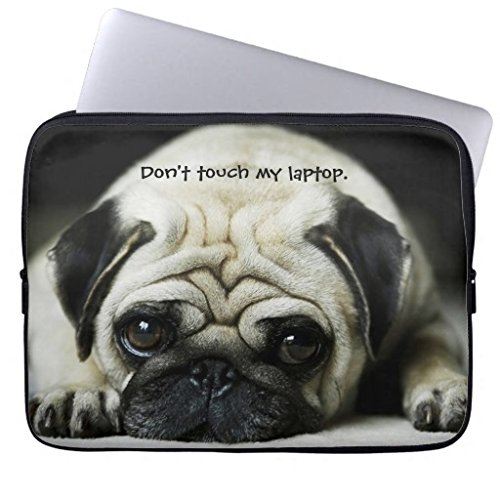 (Trendy Pug Puppy Dog Laptop Sleeve Simple Animal Dog Pattern Computer Case 17 17.3 Inch Netbook Tablet Laptop Case Soft Neoprene Sleeve Case Cover for 17
