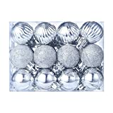 BSGSH Christmas Ball Ornaments, Delicate Painting & Glittering Shatterproof Xmas Trees Wedding Parties Tree Decorations Hanging Ornaments Baubles Set (Silver)