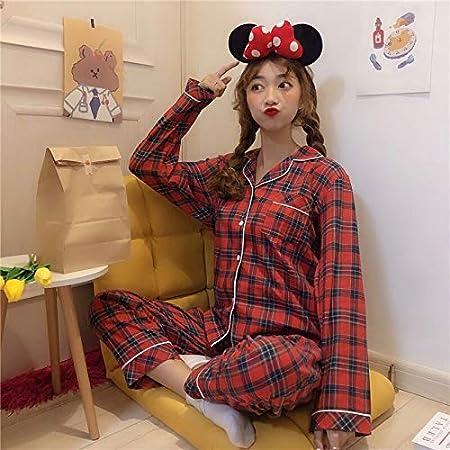 Pijama de invierno Pijamas for mujer pijama de dormir tela escocesa Conjunto de pijama de algodón