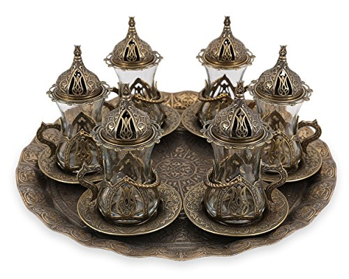 Turkish Moroccan Indian Tea Set for Six - Glasses with Brass Holders Lids Saucers Tray, Tea Cups, Tea Servers-(TS-203) (Oval Indian Glass)