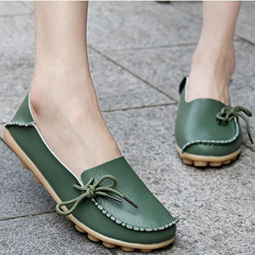 New Leisure Shoes Culater® Casual Green Female Soft Flats Leather Loafers Women Shoes 7OHOqd