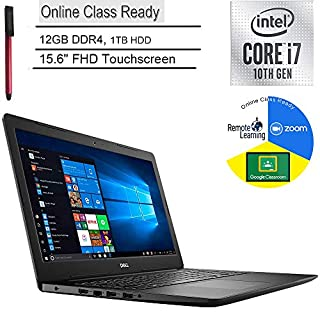 """2020 Dell Inspiron 15 Laptop Computer/ 15.6"""" FHD Touchscreen/ 10th Gen Intel 4Core i7 1065G7/ 12GB DDR4/ 1TB HDD/ Microphone/ Online Class Ready/ Windows 10/ BROAGE 3-in-1 Stylus 64GB Flash Drive"""