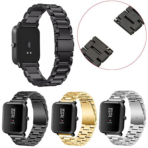 Price comparison product image Nacome Smart Watch Band, Stainless Steel Bracelet Watch Band Strap For Xiaomi Huami Amazfit Bip Youth Watch (Black)