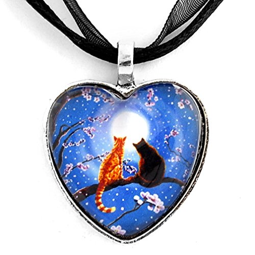 (Laura Milnor Iverson Blue Heart Necklace Two Cats Orange Tabby Black Cats Cherry Blossoms Zen Moon Handmade Art)