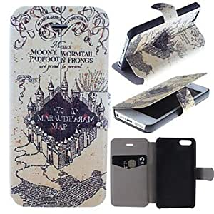 GJY Lnwick Castle Pattern Clamshell PU Leather Full Body Case with Card Slot for iPhone 5/5S