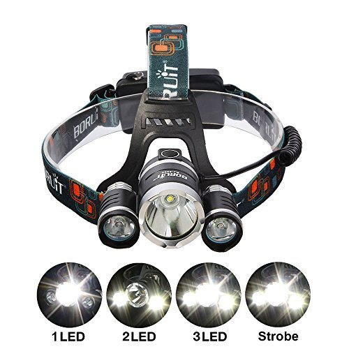 BESTSUN 5000Lumens Headlamp, 4 Modes LED Headlight Flashlight, Outdoor Waterproof Led Camping Headlamp, Portable Work Lights Helmet Lights - 2Pcs Rechargeable Lithium Batteries Included