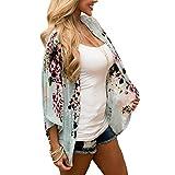 UPLOTER Women's Sheer Chiffon Blouse Loose Tops Kimono Floral Print Cardigan (L)