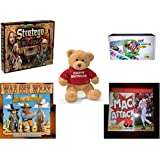 "Children's Fun & Educational Gift Bundle - Ages 6-12 [5 Piece] - The Lord of The Rings Stratego Game - DIY Loom Band Bracelet Making Kit Toy - Gund ""Happy Birthday"" Teddy Bear 12"" - Way Out West Wi"