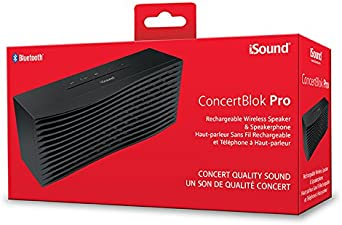 iSound ConcertBlok Pro Rechargeable Portable Wireless Speaker Plus Speakerphone Black