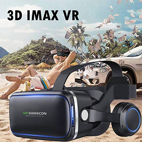 VR Headset, 3D Viewing Glasses for 3D Audio & Video, Movie & Game Display Cell Phone VR Headset with Headphones…