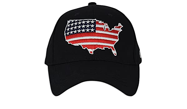 4af063c8a53 USA Flag Baseball Polo Style Strapback Hats Cotton Adjustable Embroidery Hat  Dad (Black) at Amazon Men s Clothing store