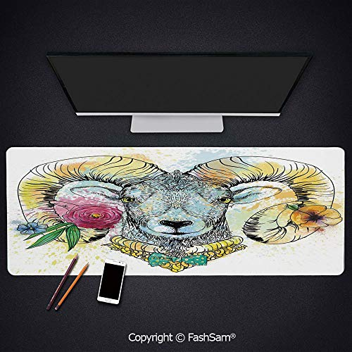 Personalized Large Mouse Pad Ram with Horns and Blossoming Spring Flowers Bow Tie Dapper Fashion Art Decorative Keyboard Pad for Laptop(W27.5xL11.8)