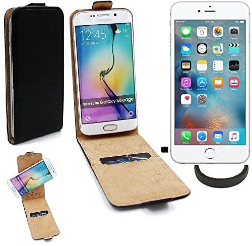 TOP SET: Case Smartphone Cover Flip Style pour Apple iPhone 6s Plus 360°, noir + protection de anel, couvercle rabattable - K-S-Trade (TM)