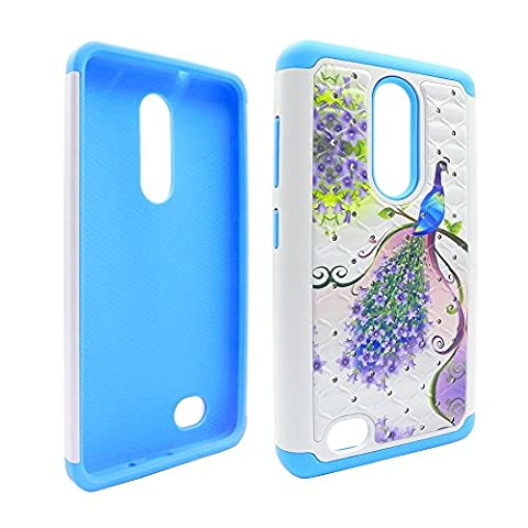 Purple & Pink Peacock Hybrid Protective Armor Case with Diamond For ZTE Zmax Pro Z981 (Zte Zmax Phone Case Pink Hybrid)
