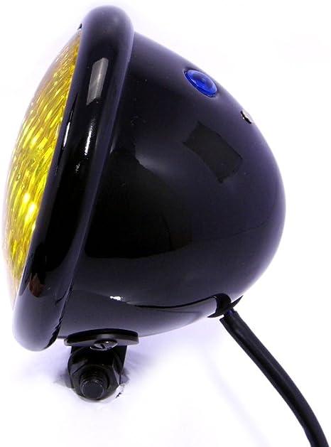 Id/éal pour Chopper Moto Phare 4.75  120mm Noir avec Lentille Jaune Bobber Scrambler Caf/é Racer
