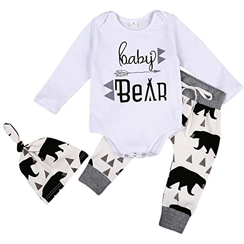 MIOIM 3pcs Baby Boys Girls Letter Romper Bear Pants Knotted Hat Coming (Boys Bear)