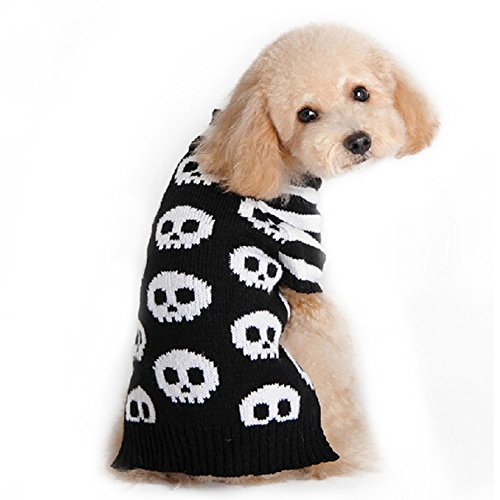 Black White Striped Skeleton Pet Dog Cat Puppy Clothes Halloween Sweater Costume (Creative Cute Halloween Costumes)