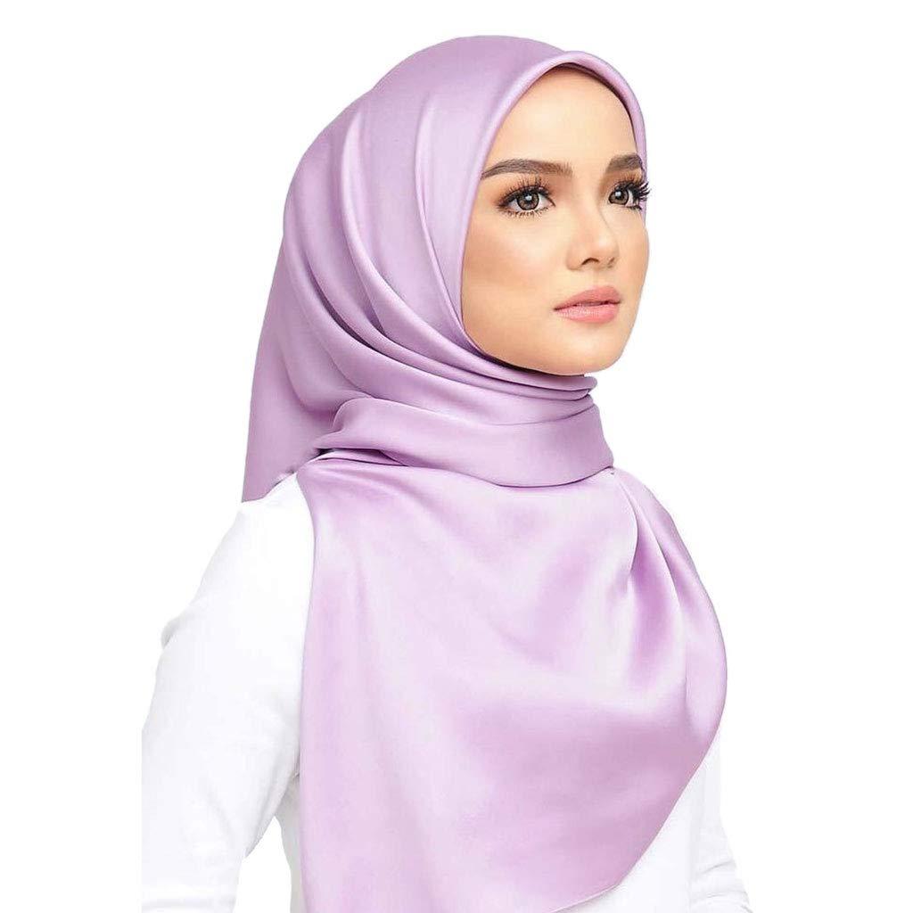 seidiger Satin islamisches Kopftuch Satin Pink 35.43x35.43in Dabixx Muslim Hijab Damen Halstuch einfarbig quadratisch multifunktional Hellviolett 90x90cm Twill