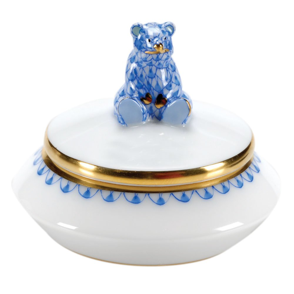 Herend First Curl Bear Box Porcelain Figurine Blue Fishnet